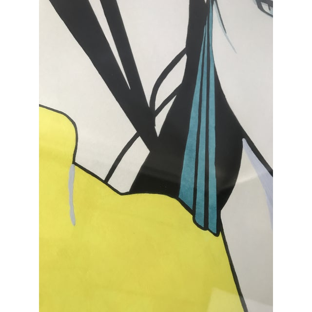 Patrick Nagel Inspired Original Painting - Woman in Yellow Sweater - Image 5 of 11