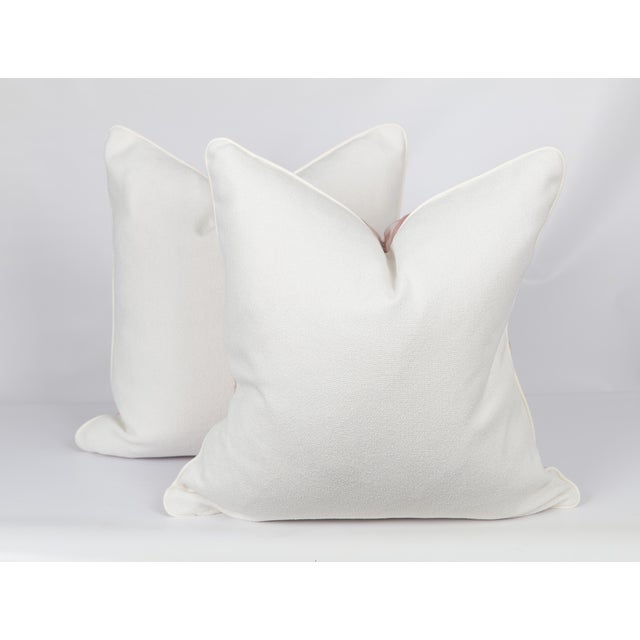 Blush Abstract Linen-Blend Pillows, a Pair For Sale - Image 4 of 6