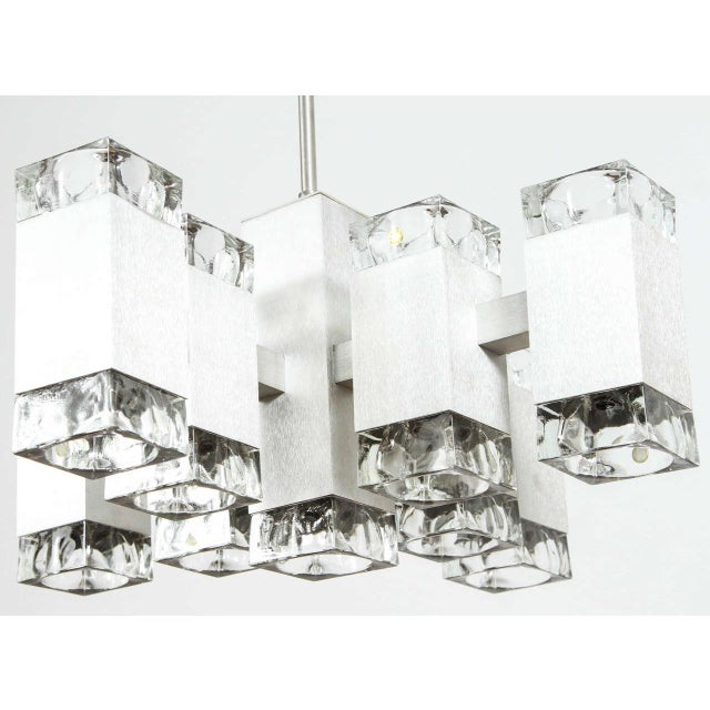 Brushed Aluminum Chandelier in the Style of Kalmar For Sale - Image 9 of 10