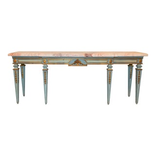 Elegant Vintage Traditional French Style Painted Wood Console Table With Marble Top For Sale