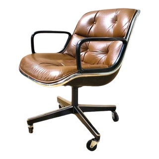 1970s Vintage Leather Knoll Desk Chair For Sale