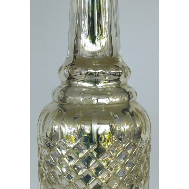 2000s Mercury Glass Table Lamps With Lucite Bases & Finials-A Pair For Sale - Image 5 of 11