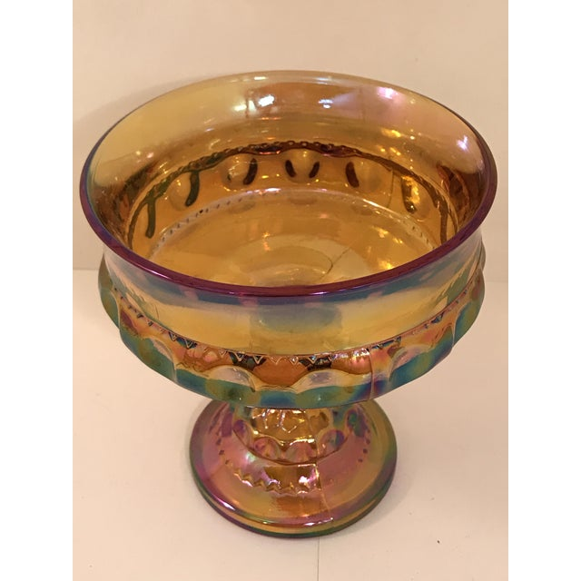 Vintage Fenton Marigold Harvest Grape Carnival Glass Compote. Perfect for the holiday season.