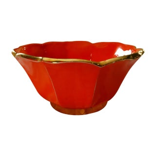 Vintage Neon Orange Vase with Gold Rim