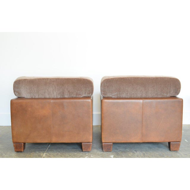 Mid-Century Modern Desede Leather and Mohair Club Chairs For Sale - Image 3 of 6