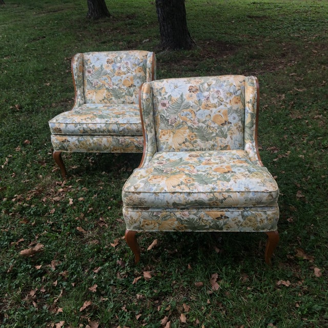 Vintage Winged Slipped Chairs in Floral - Pair - Image 5 of 9