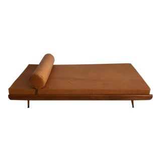 Mid-Century Caramel Leather Daybed