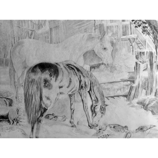 Rustic Antique Horses & Barn Yard Animals Original Drawing For Sale - Image 3 of 5