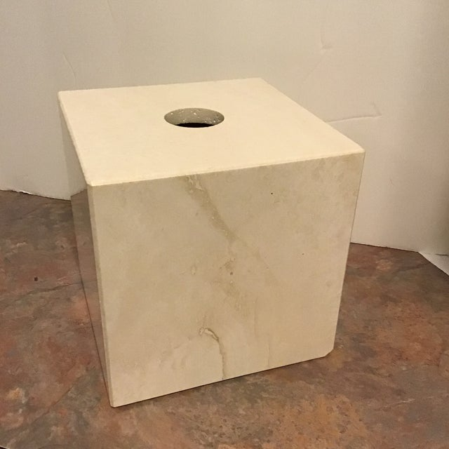 Mid-Century Modern Maitland Smith Tessellated Marble Stone Tissue Box Last Call For Sale - Image 3 of 6