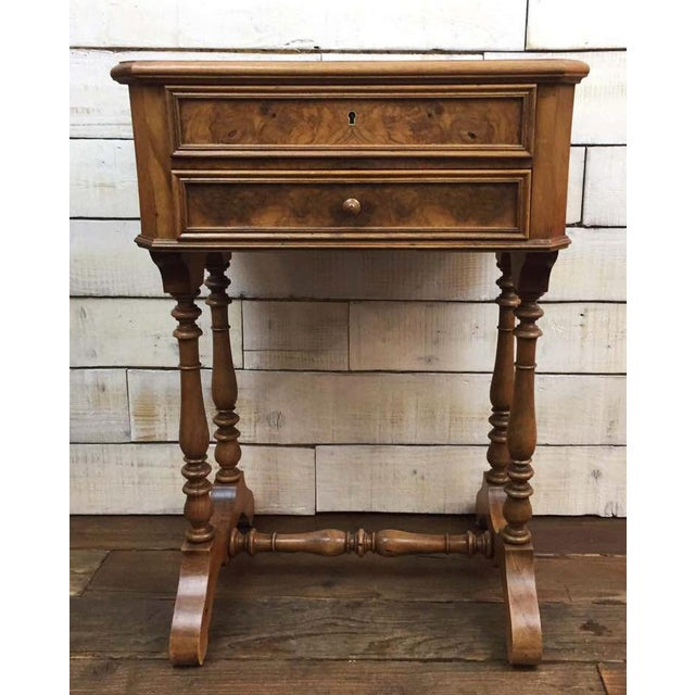 Antique French Vanity Armoire Desk, Burl Wood & Walnut - Image 2 of 10