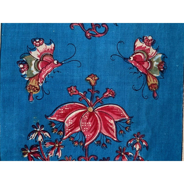 """Antique French Fabric Floral And Stripe Indienne Fabric - 25.5x65.75"""" For Sale - Image 4 of 11"""