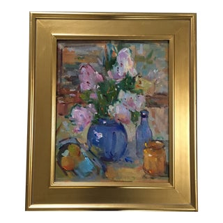 Lilacs and Bottles Painting by Kanya Bugreyev For Sale