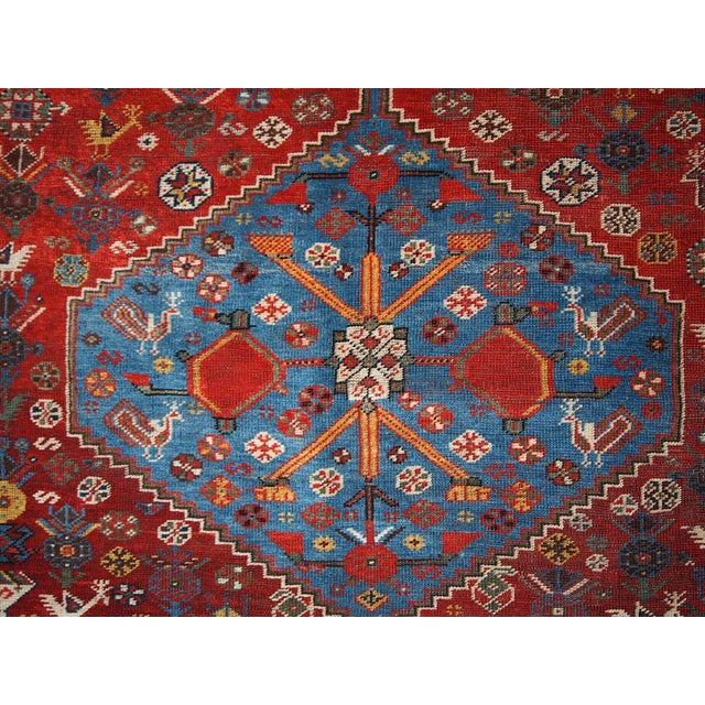 1870s Hand Made Antique Collectible Persian Khamseh Rug 6.4' X 9.9' For Sale In New York - Image 6 of 10