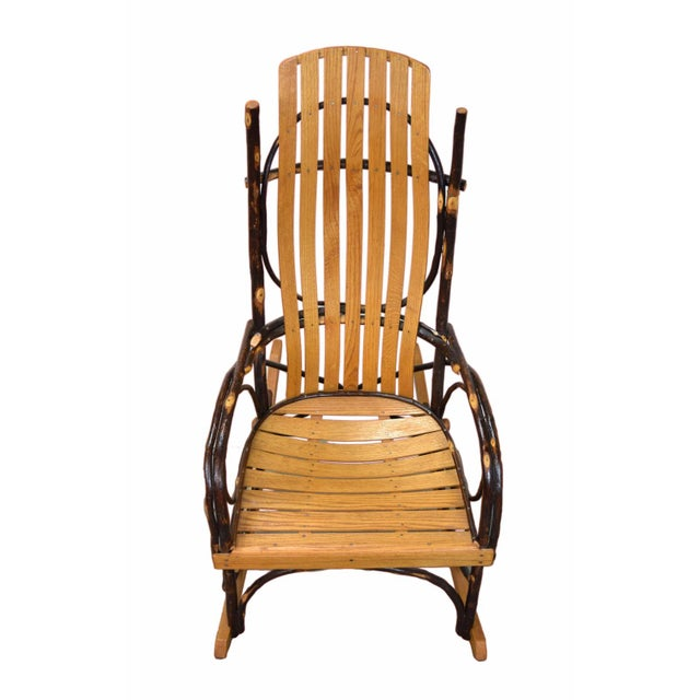 Vintage Hickory twig and bentwood rocking chair. Stamped on bottom A. C. Latshaw Rustic Furniture, New Paris,...