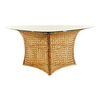Fantastic Vintage Rattan Triangle Base Dining or Game Table by Danny Ho Fong