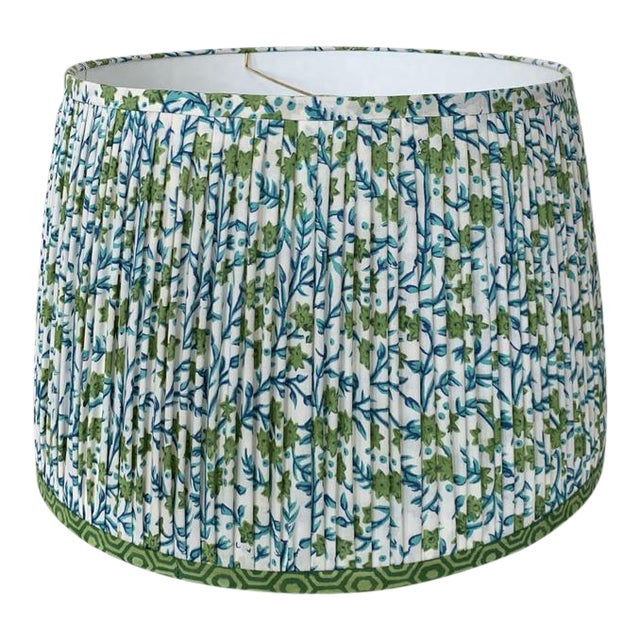 Pleated Lampshade- Green and Blue Lamp Shade-Blue Floral Pleated Lampshade -Custom Made-To-Order-Home Decor-Gathered Lamp Shade-Floral Lamp For Sale