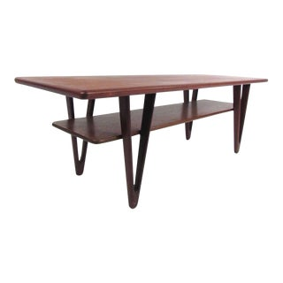 Danish Modern Triangular Leg Teak Coffee Table by Kurt Ostervig For Sale