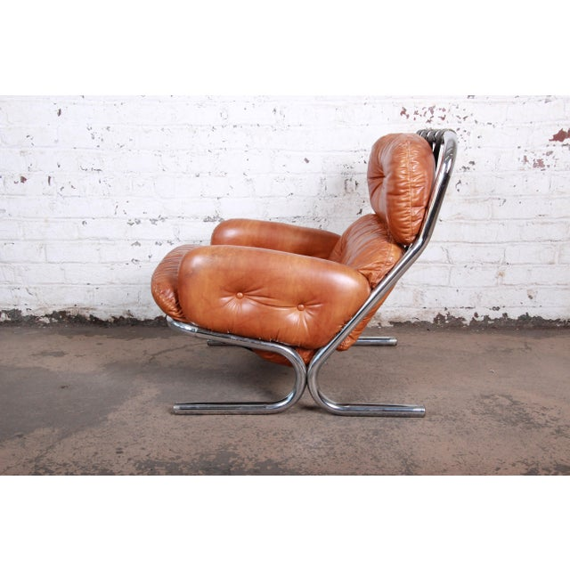 Brown Milo Baughman for Directional Mid-Century Modern Lounge Chair and Ottoman, 1970s For Sale - Image 8 of 13