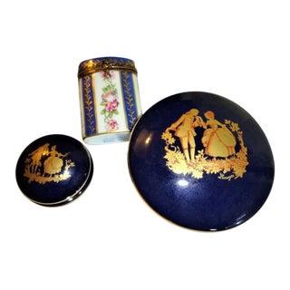 French Limoges Porcelain Trinket Boxes - Set of 3 For Sale