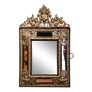 19th Century French Napoleon III Repousse Brass and Ebony Overlay Wall Mirror For Sale