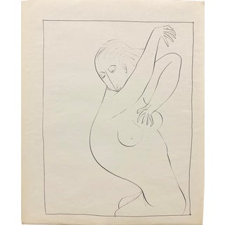 """Donald Stacy """"Shower"""" C.1950s Ink Mid Century Nude Drawing For Sale"""
