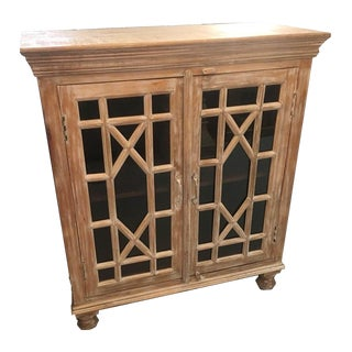 Rustic Square Wood and Glass Two Door Cabinet With Lattice Doors For Sale