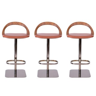 Porada Ester Sgabello Walnut, Leather and Black Chrome Barstools For Sale