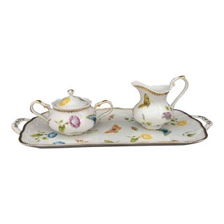 Godinger Co. Primavera Petite Creamer, Sugar, Sandwich Tray Flora/Fauna 3 Pc. Table Set For Sale