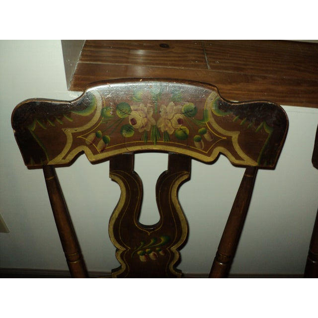Late 19th Century Antique Hitchcock Style Painted Dining Room Side Chairs- Set of 6 For Sale In Saint Louis - Image 6 of 9