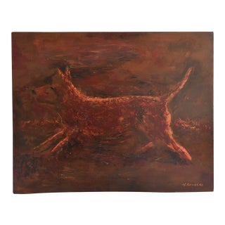 Midcentury Folk Art Running Rusty Dog Oil Painting by M Sanders For Sale