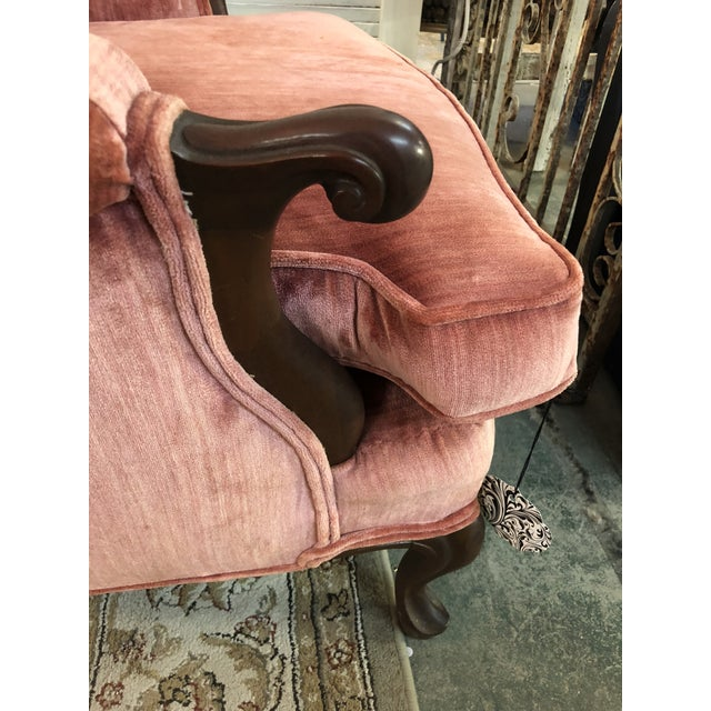 Fabric Vintage Rose Velvet Channel Back Wing Chair For Sale - Image 7 of 10