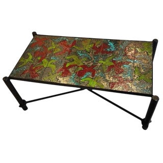 Jacques Adnet Mid-Century Cocktail Table in Blackened Steel and Hand Thrown Tile France circa 1955 For Sale