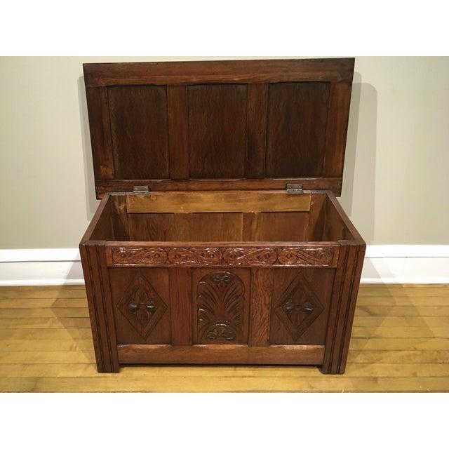 Brown 1960s Vintage Carved Oak Coffer For Sale - Image 8 of 10