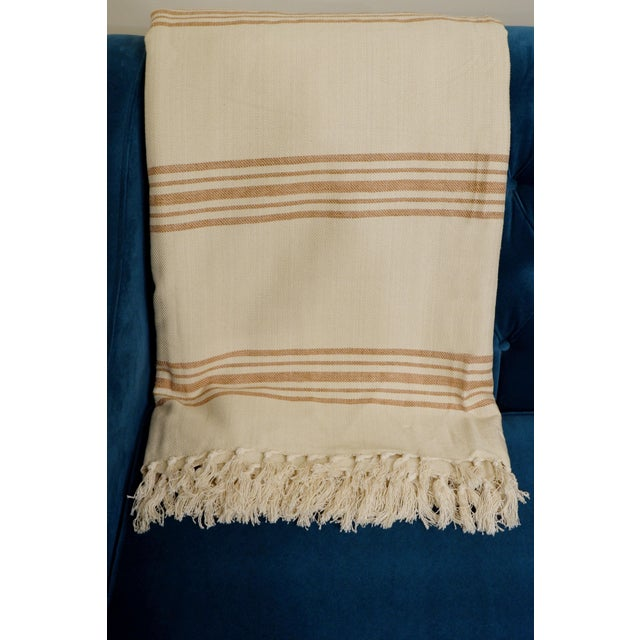 Linen Turkish Hand Made Bed Coverlet With Natural Linen/Cotton,70x96 Inches For Sale - Image 8 of 8