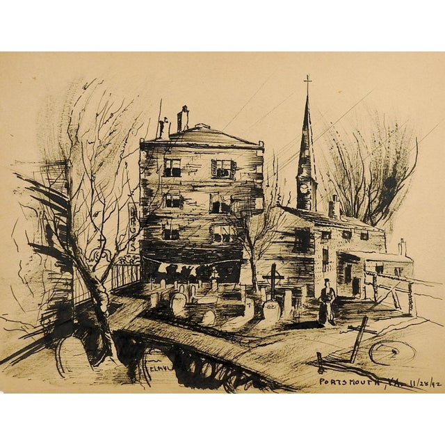 Mid-Century Modern Wpa Style Portsmouth Virginia 1942 Drawing For Sale - Image 3 of 3