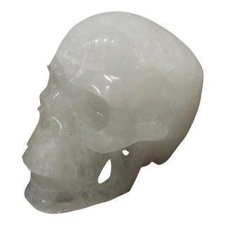 Vintage Quartz Rock Crystal Skull Sculpture For Sale