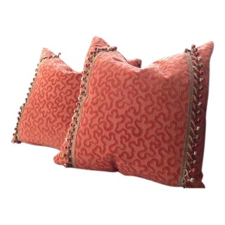 "Schumacher ""Vermicelli"" Velvet Pillow Covers - a Pair For Sale"