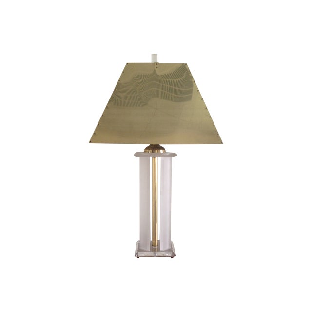 Vintage Lucite Lamp with Brass Shade For Sale