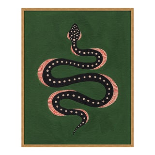 Apple the Snake by Willa Heart in Gold Framed Paper, Large Art Print For Sale