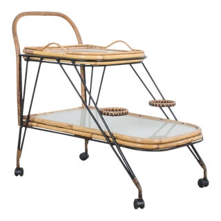 1960s Mid-Century Rattan Bar Cart For Sale