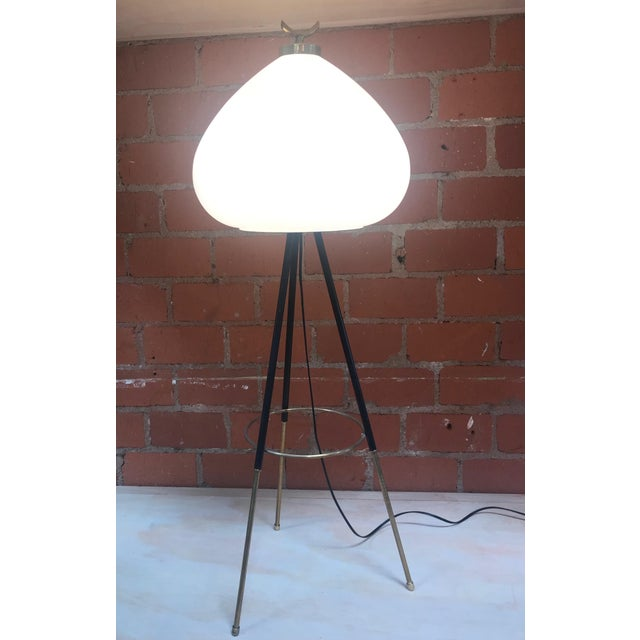 Tripod Floor Lamp in Brass and Milk Glass, Italy, 1960s For Sale - Image 4 of 11