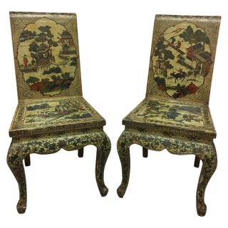 Pair of Japanned or Chinoiserie Painted Chinese Chairs, Circa 1940 For Sale