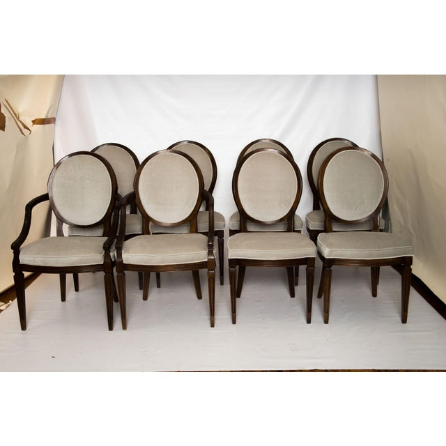 Louis XVI Gray Velvet Dining Chairs - Set of 8 - Image 2 of 9