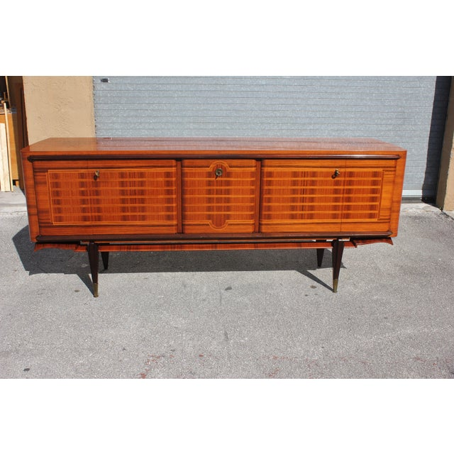 Art Deco French Art Deco Macassar Ebony Sideboard Credenza For Sale - Image 3 of 13