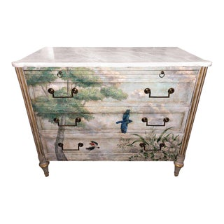 Venetian Paint Decorated Commode or Bed Stand in the Manner of Jansen For Sale