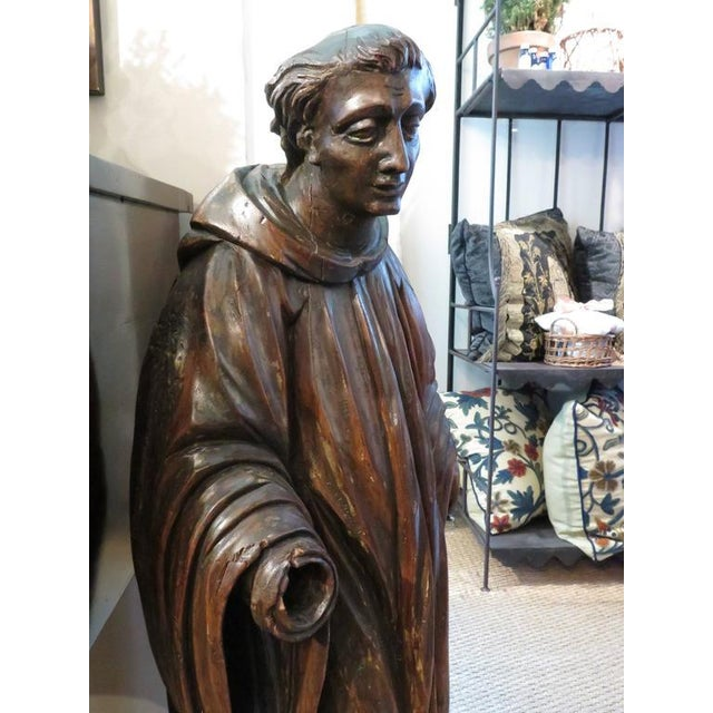 Figurative French Carved Walnut Ecclesiastical Figure For Sale - Image 3 of 6