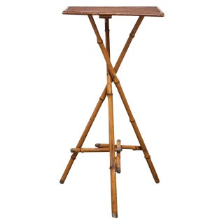 20th Century Boho Chic Bamboo Tripod Drinks Table For Sale