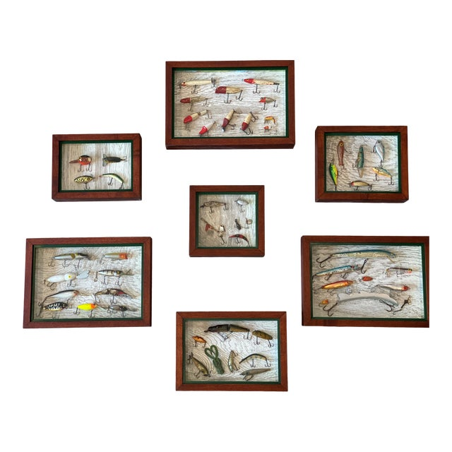 Vintage Fishing Lures in Shadow Boxes - Set of 5 For Sale