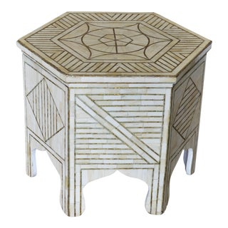 Bone and Brass Side Table Table