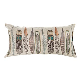 Contemporary Linen Large Feathers Lumbar For Sale